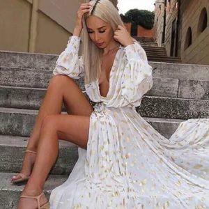 Dresses & Skirts - White Gold Palm Leaf Maxi